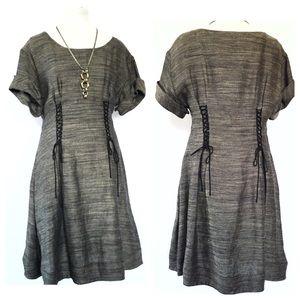 3.1 Phillip Lim tan black linen lace up dress